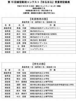 第16回『ほるほる』受賞者記録表